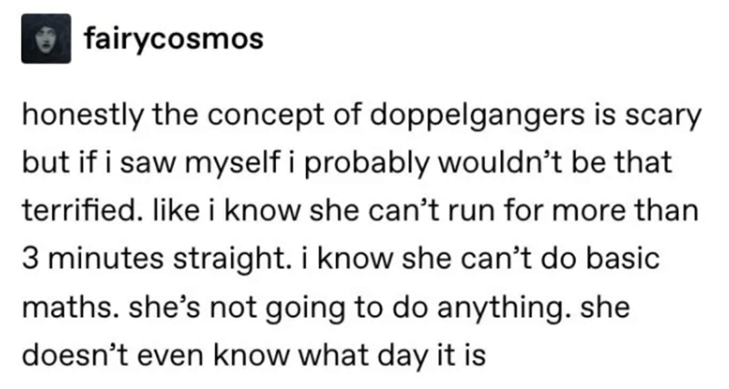 Text - fairycosmos honestly the concept of doppelgangers is scary but if i saw myself i probably wouldn't be that terrified. like i know she can't run for more than 3 minutes straight. i know she can't do basic maths. she's not going to do anything. she doesn't even know what day it is
