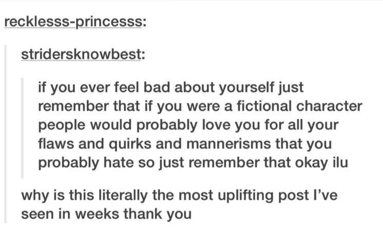 wholesome meme - Text - recklesss-princesss: stridersknowbest: if you ever feel bad about yourself just remember that if you were a fictional character people would probably love you for all your flaws and quirks and mannerisms that you probably hate so just remember that okay ilu why is this literally the most uplifting post I've seen in weeks thank you