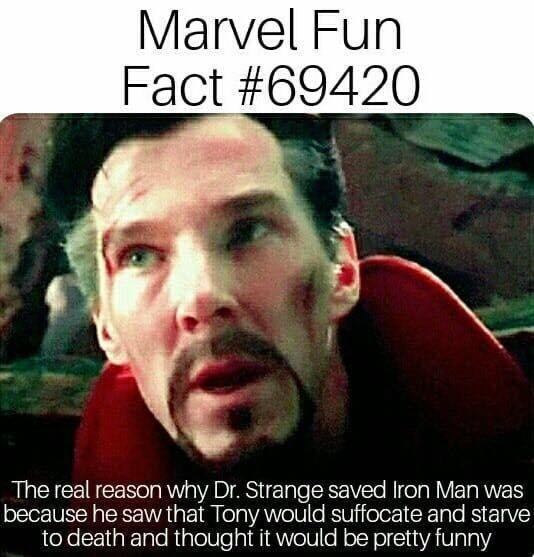 dank memes - Photo caption - Marvel Fun Fact #69420 The real reason why Dr. Strange saved Iron Man was because he saw that Tony would suffocate and starve to death and thought it would be pretty funny