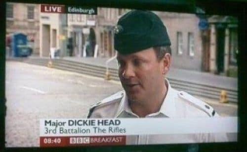 Forehead - LIVE Edinburgh Major DICKIE HEAD 3rd Battalion The Rifles 08:40 BBC BREAKFAST