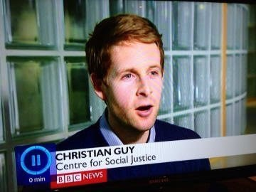 Forehead - ICHRISTIAN GUY Centre for Social Justice BBC NEWS O min