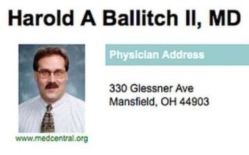 Text - Harold A Ballitch II, MD Physiclan Address 330 Glessner Ave Mansfield, OH 44903 www.medcentral.org