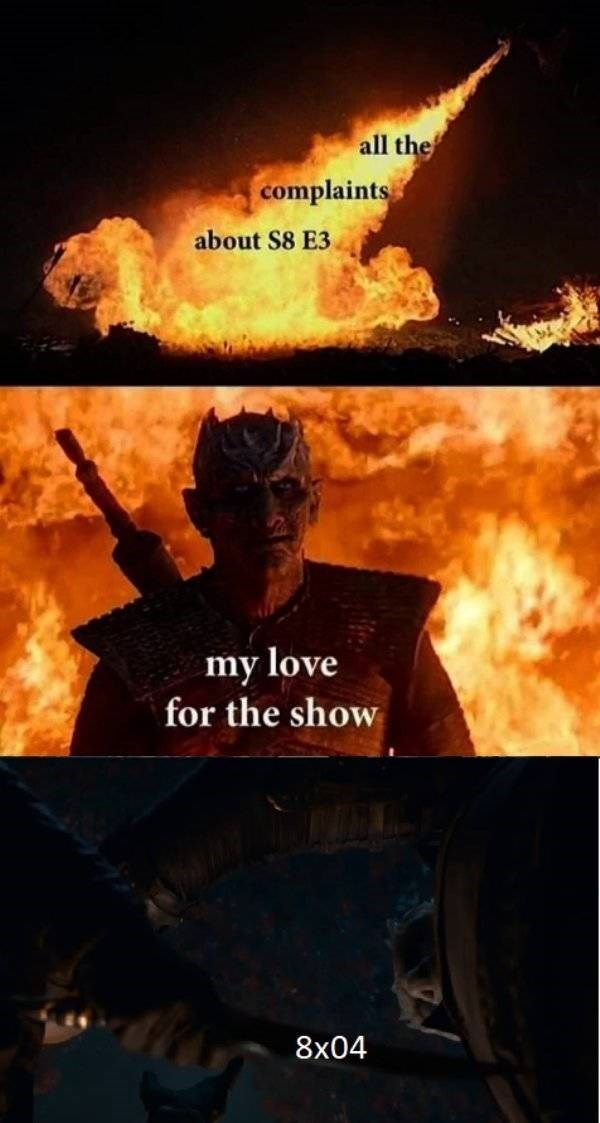 A Game of Thrones meme showing the Night King smiling under the dragon's flames.
