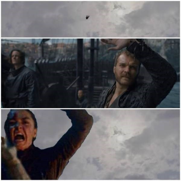 A Game of Thrones meme showing Arya Stark falling from the sky to stab Euron Greyjoy.