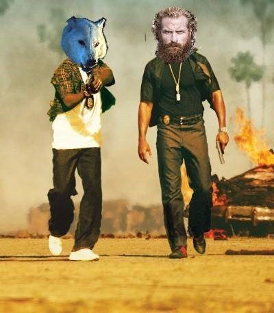 Game of Thrones meme with Ghost and Tormund Giantsbane's faces on the Bad Boys movie cover.