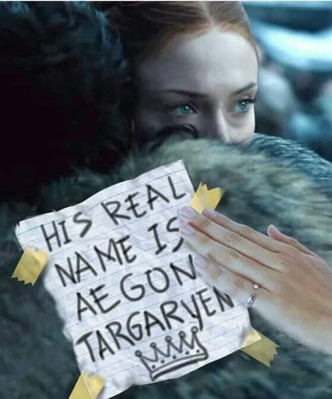 "Sansa Stark (Sophie Turner) hugging Jon Snow (Kit Harington) with sign that says ""His real name is Aegon Targaryen"""