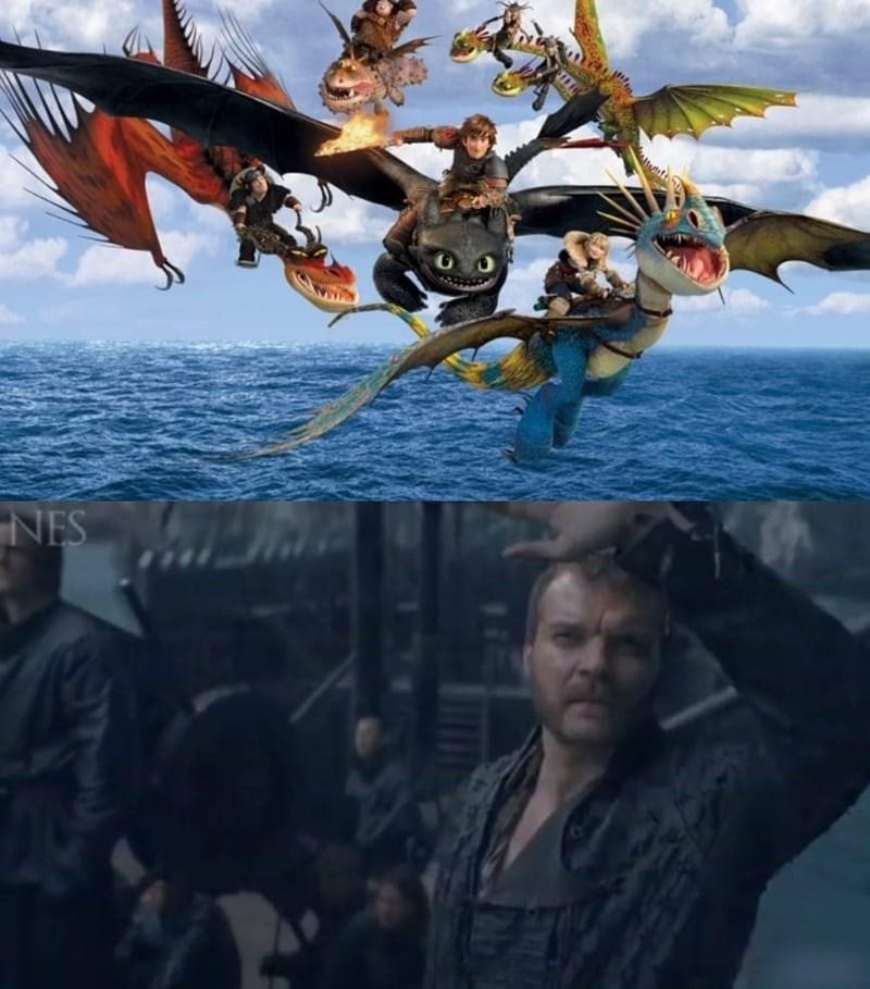 Euron Greyjoy meme, how to train your dragon, dragons, game of thrones meme.
