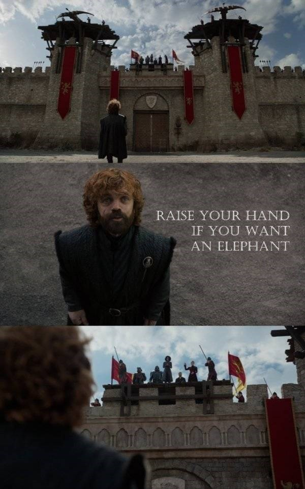 Game of thrones meme, Tyrion Lannister (Peter Dinklage) asking Cersei if she wants an elephant.