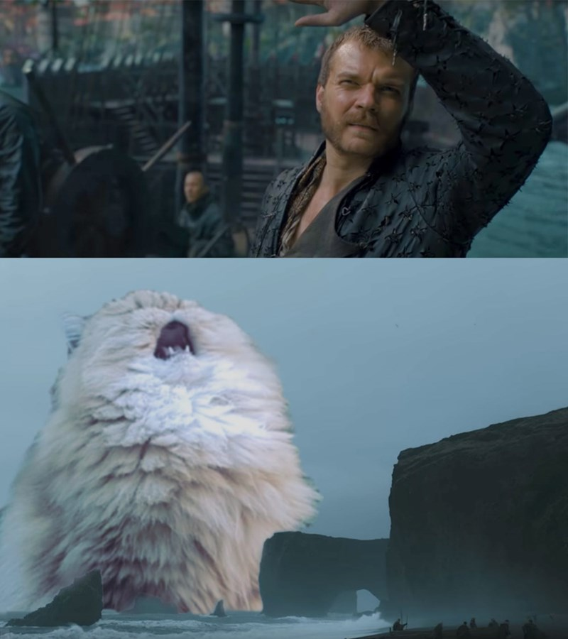 Game of thrones meme, Euron Greyjoy looking at the sky, giant cat photoshop.