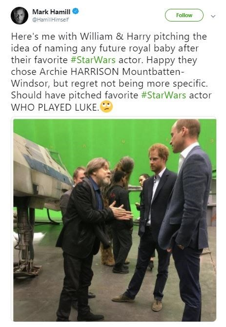Funny Mark Hamill tweet about the royal baby's name