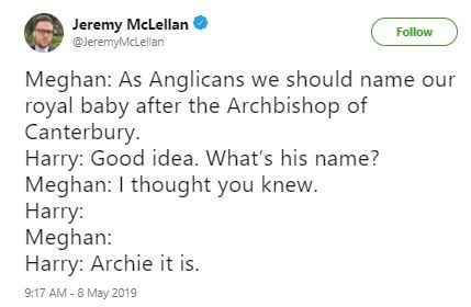 Funny tweet about the royal baby's name