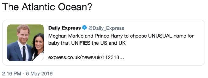 """Funny tweet that reads, """"The Atlantic Ocean?"""""""
