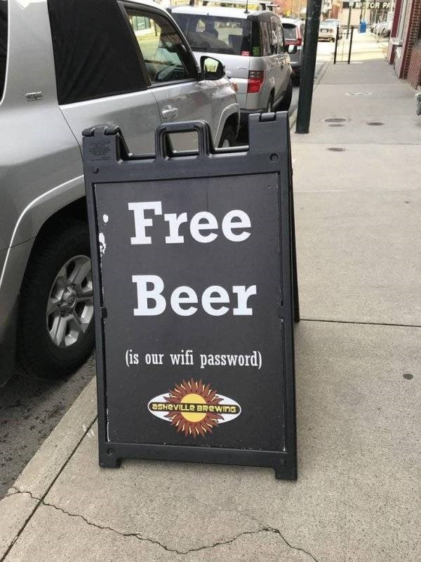clerver moment - Motor vehicle - LTOR PAR Free Beer (is our wifi password) OSHRVILLE BREWING