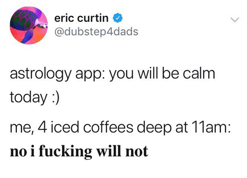 Text - eric curtin @dubstep4dads astrology app: you will be calm today me, 4 iced coffees deep at 11am: no i fucking will not