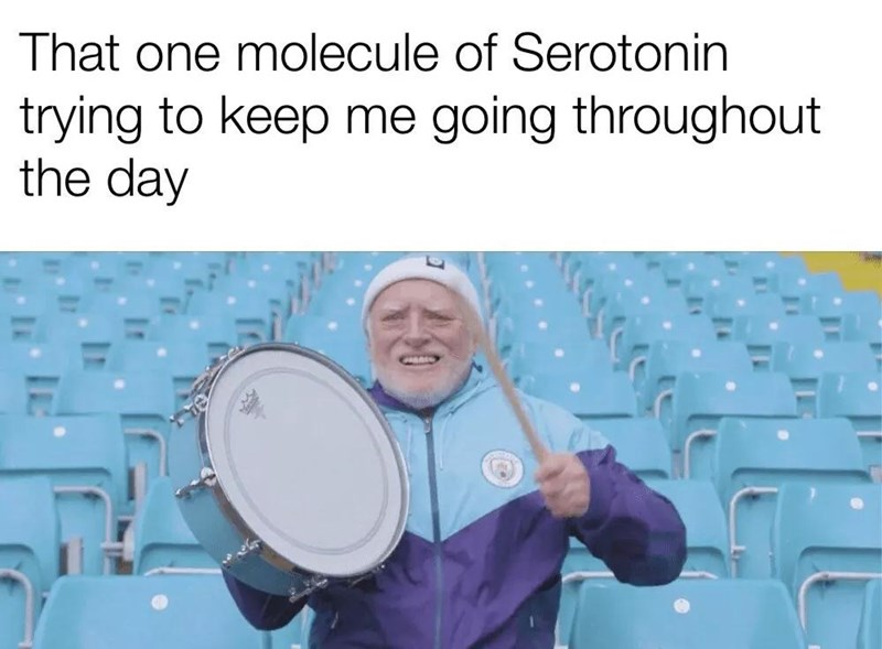 Text - That one molecule of Serotonin trying to keep me going throughout the day