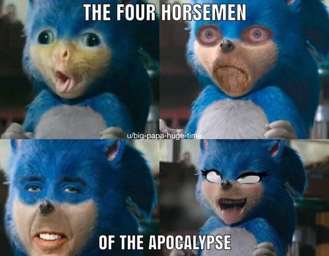 Funny edit of Sonic the Hedgehog - Nicolas Cage, cat, Belle Delphine
