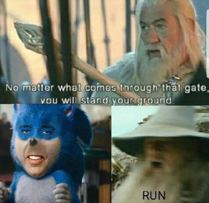 Funny edit of Sonic the Hedgehog - Gandalf, Lord of the Rings, Nicolas Cage