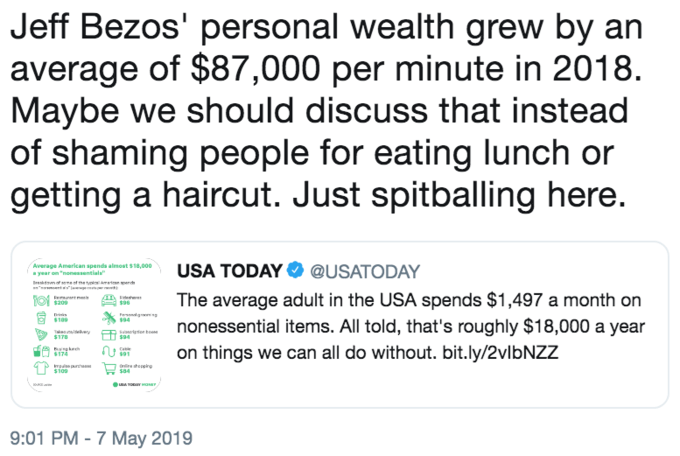 Funny tweet in response to USA Today's tweet about 'nonessential items'