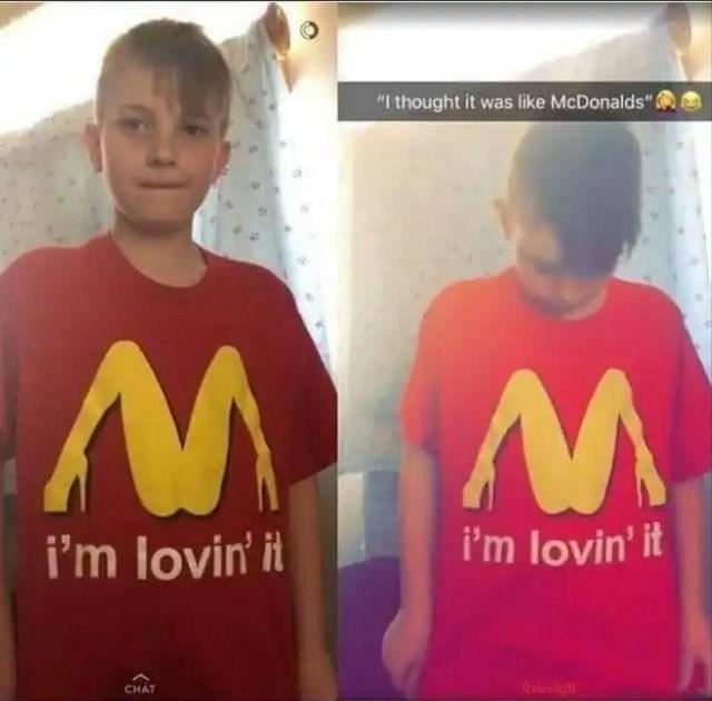 """T-shirt - """"I thought it was like McDonalds"""" i'm lovin' it i'm lovin' it W W CHAT"""