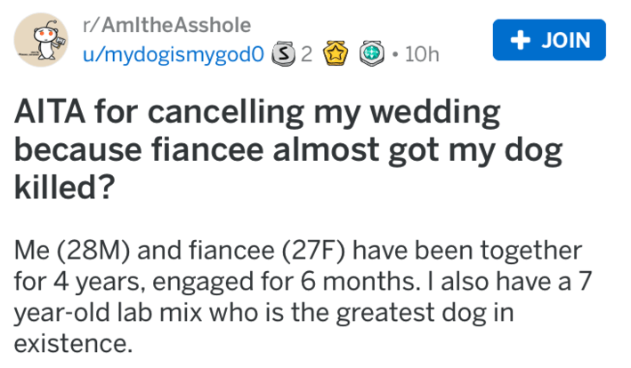 Text - r/AmltheAsshole +JOIN u/mydogismygodo 2 10h AITA for cancelling my wedding because fiancee almost got my dog killed? Me (28M) and fiancee (27F) have been together for 4 years, engaged for 6 months. I also have a 7 year-old lab mix who is the greatest dog in existence.