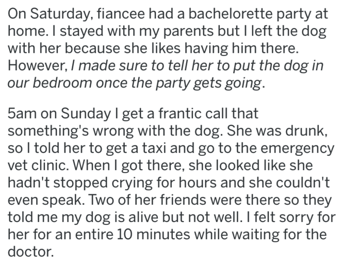 Text - On Saturday, fiancee had a bachelorette party at home. I stayed with my parents but I left the dog with her because she likes having him there. However, I made sure to tell her to put the dog in our bedroom once the party gets going. 5am on Sunday I get a frantic call that something's wrong with the dog. She was drunk, so I told her to get a taxi and go to the emergency vet clinic. When I got there, she looked like she hadn't stopped crying for hours and she couldn't even speak. Two of he