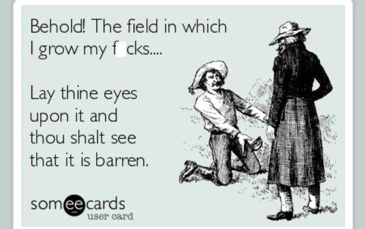 "Funny post from SomeEcard that reads, ""Behold! The field in which I grow my f*cks...Lay thine eyes upon it and thou shalt see that it is barren"""