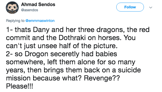 A tweet contesting the Game of Thrones fan theory that there will be more dragons.