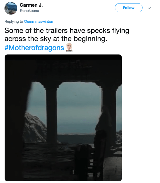A tweet showing dark specks in the distance that could be more dragons in Game of Thrones.