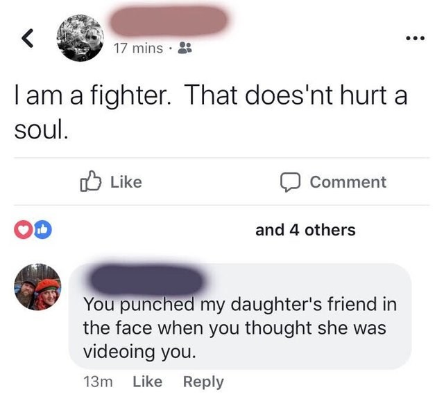 Text - 17 mins I am a fighter. That does'nt hurt a soul. Like Comment and 4 others You punched my daughter's friend in the face when you thought she was videoing you. Like Reply 13m