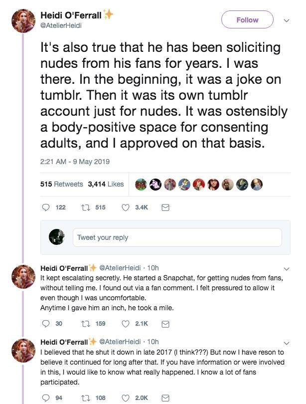 Tweets from Heidi O'Ferrell about ProJared cheating scandal and soliciting nudes from underage girls on Snapchat.