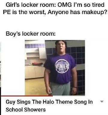 Boys locker room meme, girls locker room