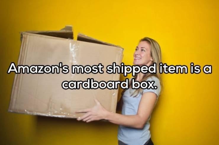 Yellow - Amazon's most shipped item isa cardboard box.