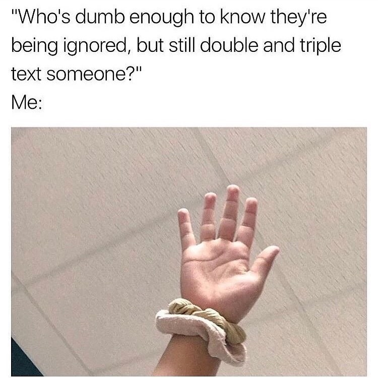 """Text - """"Who's dumb enough to know they're being ignored, but still double and triple text someone?"""" Me:"""