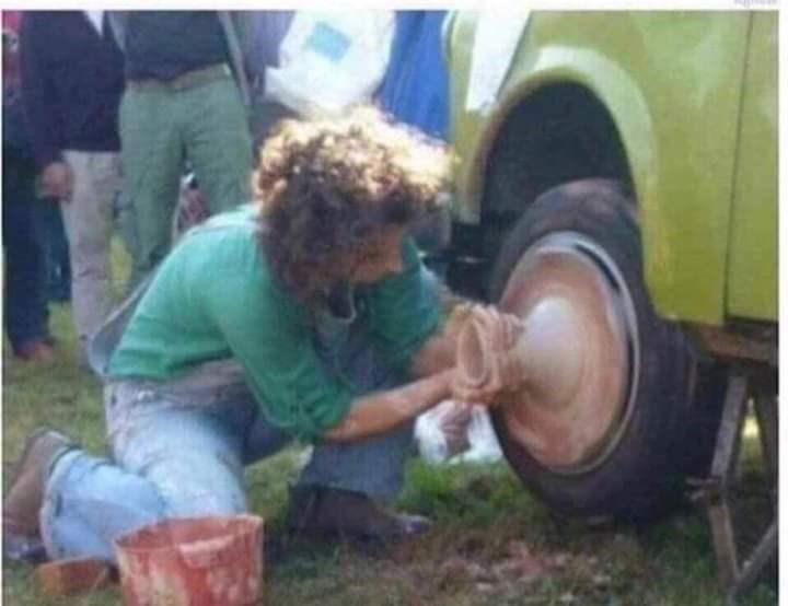 cursed image - fixing tire