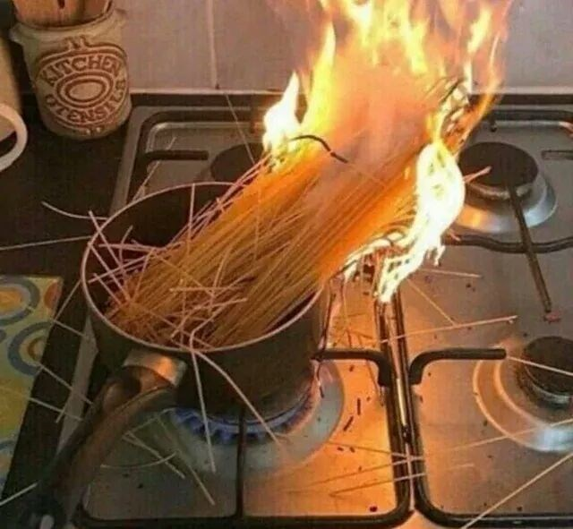 cursed image - Flame - pasta on fire
