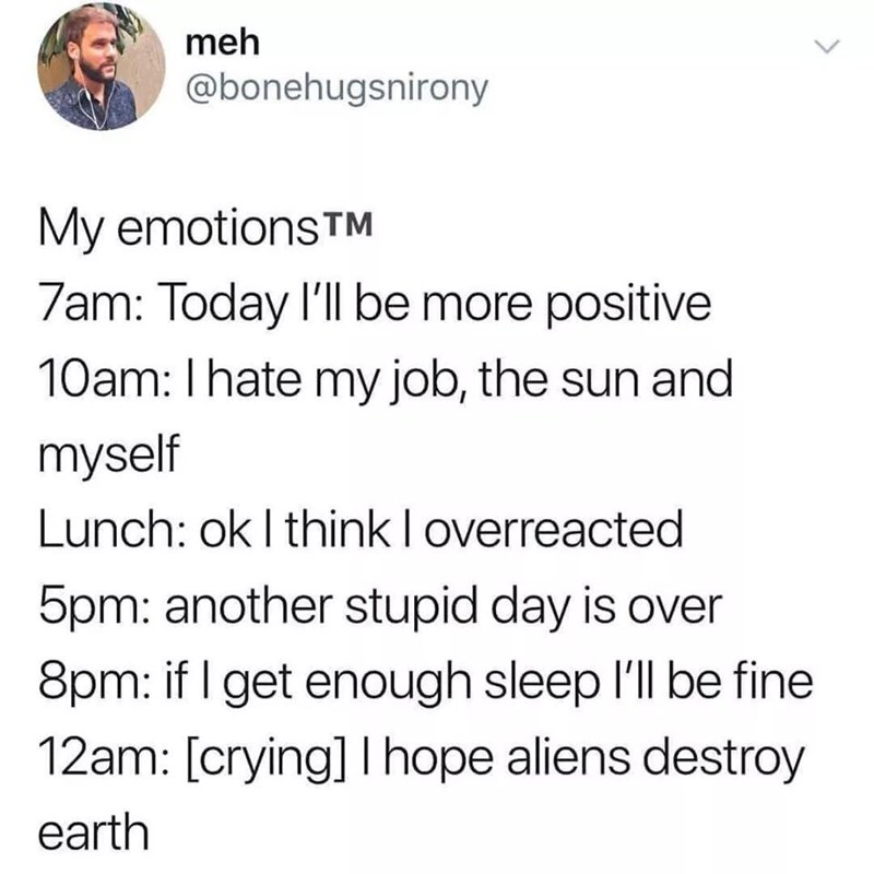 Text - meh @bonehugsnirony My emotions TM 7am: Today I'll be more positive 10am: I hate my job, the sun and myself Lunch: ok I think I overreacted 5pm: another stupid day is over 8pm: if I get enough sleep I'll be fine 12am: [crying] Ihope aliens destroy earth