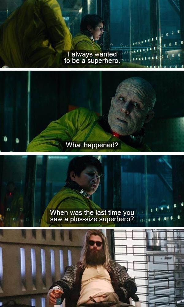 Avengers Endgame Meme:Meme about Thor being a plus sized super hero