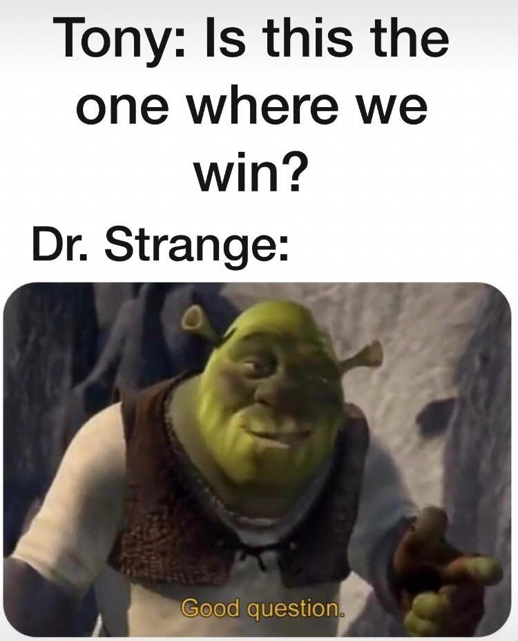 "Avengers Endgame Meme: Tony says ""is this the one where we win?"" Dr: Strange good question, picture of shrek."