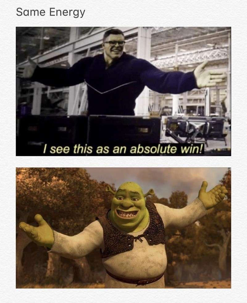 Avengers Endgame Meme: Meme that says 'i see this as an absolute win' is the same as shrek.