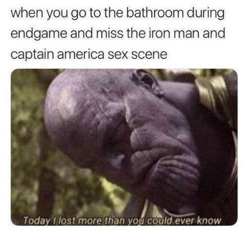"Avengers Endgame Meme:When you go to the bathroom during endgame and miss the iron man and captain america sex scene. ""today i lost more than you could ever know. thanos"