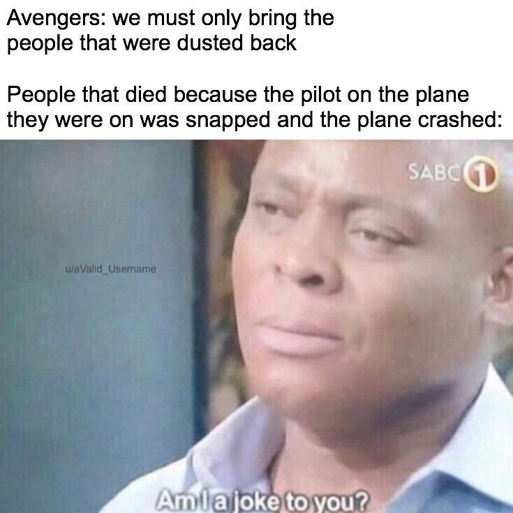 Face - Avengers: we must only bring the people that were dusted back People that died because the pilot on the plane they were on was snapped and the plane crashed: SABC u/aValid Username Amlajoke to you?