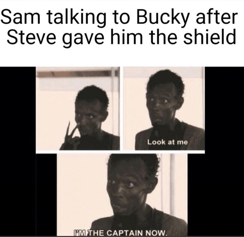 Facial expression - Sam talking to Bucky after Steve gave him the shield Look at me MMTHE CAPTAIN NOW