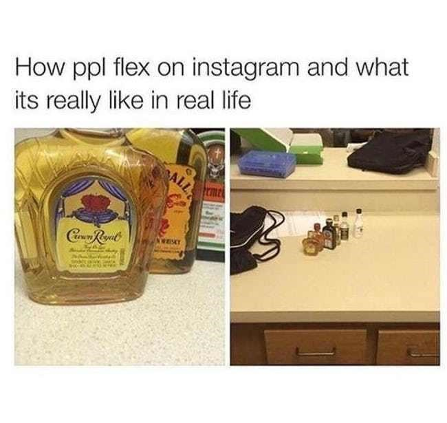 'Instagram vs. Reality' meme - alcohol