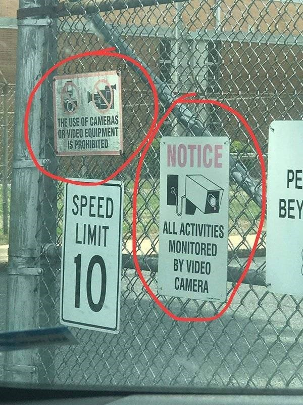 Text - THE USE OF CAMERAS OR VIDEO EQUIPMENT IS PROHIBITED NOTICE PE BEY SPEED LIMIT ALL ACTIVITIES MONITORED BY VIDEO CAMERA 10