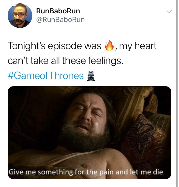 """Game of Thones Season 8 Episode 5: Tonight's episode was fire, my heart can't take all these feelings. Still of Robert Baratheon saying """"give me something for the pain and let me die."""""""