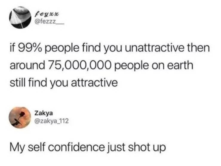 Text - feyxx @fezzz if 99% people find you unattractive then around 75,000,000 people on earth still find you attractive Zakya @zakya 112 My self confidence just shot up