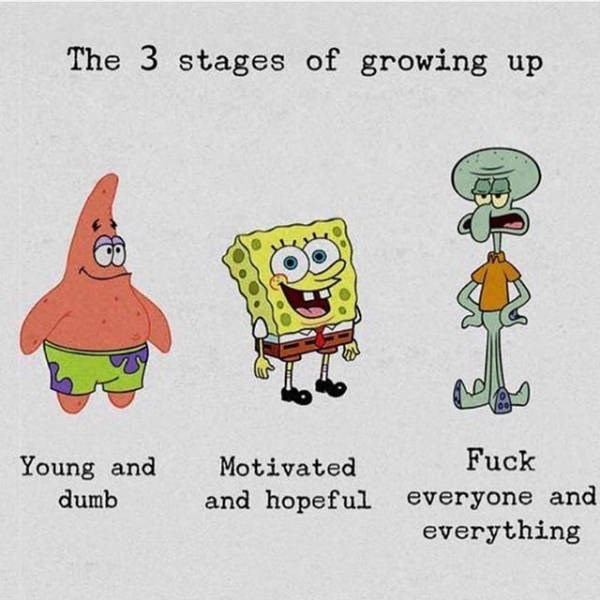 Cartoon - The 3 stages of growing up Fuck Young and Motivated and hopeful everyone and everything dumb