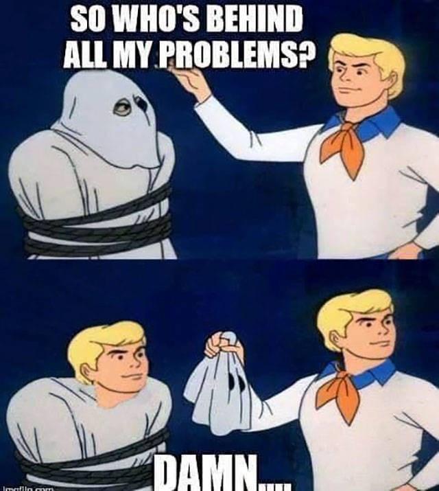 Animated cartoon - SO WHO'S BEHIND ALL MY PROBLEMS? / DAMN... lmaflln.com