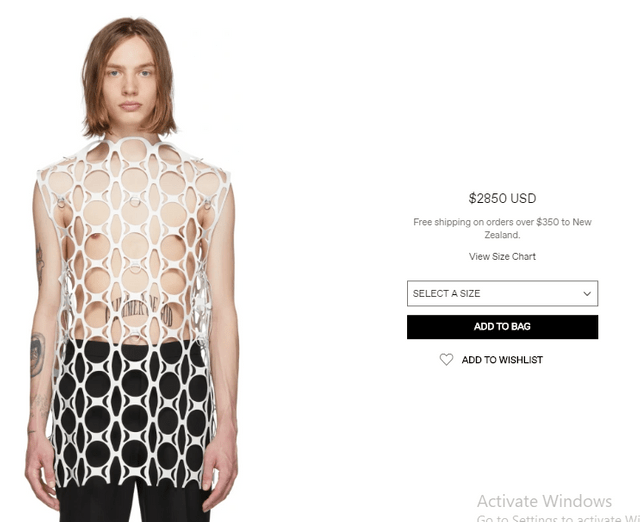 Clothing - $2850 USD Free shipping on orders over $350 to New Zealand. View Size Chart SELECT A SIZE ADD TO BAG ADD TO WISHLIST Activate Windows Go to Settinas to activate W