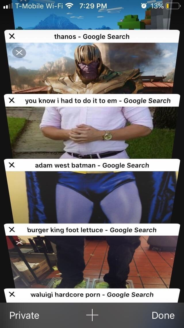 Cartoon - T-Mobile Wi-Fi 7:29 PM 13% thanos Google Search X X you know i had to do it to em Google Search X adam west batman Google Search burger king foot lettuce X Google Search - waluigi hardcore porn Google Search X Private Done
